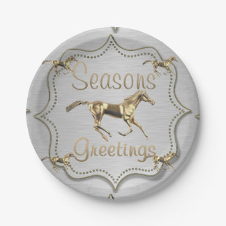 Gold Horses On Silver Seasons Greetings Paper Plate