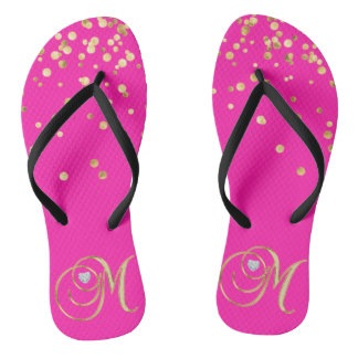 Gold HOT PINK Monogram Letter 'M' Heart - Women Thongs