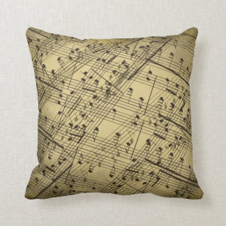Gold Hued Sheet Music Collage Pillow