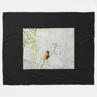 Gold hummingbird fleece blanket