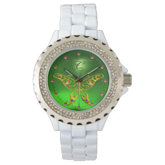 GOLD HYPER BUTTERFLY Emerald Green Monogram Watch
