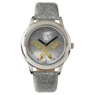 GOLD HYPER BUTTERFLY Grey Gemstone Monogram Watch