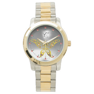 GOLD HYPER BUTTERFLY Grey Gemstone Monogram Watch