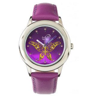 GOLD HYPER BUTTERFLY Purple Amethyst Monogram Watch