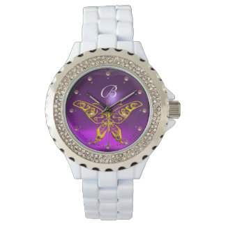 GOLD HYPER BUTTERFLY Purple Amethyst Monogram Watch
