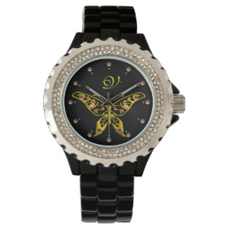 GOLD HYPER BUTTERFLY WITH GEMSTONES Monogram Black Watch