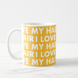 Gold I Love My Hair Bold Text Cutout Coffee Mug