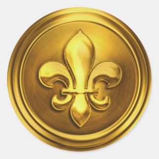 Gold II Fleur de Lis Envelope Seal Embossed Look Round Sticker