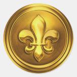 Gold II Fleur de Lis Envelope Seal Embossed Look Round Stickers