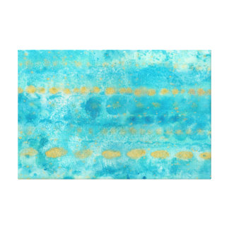 Gold in Deep Turquoise watercolor art Canvas Print