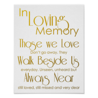 Gold In Loving Memory Wedding Sign