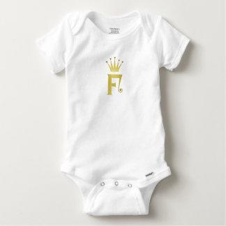 Gold Initial F Letter Monogram Crown Baby Bodysuit