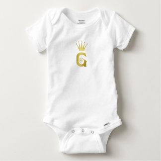 Gold Initial G Letter Monogram Baby Bodysuit