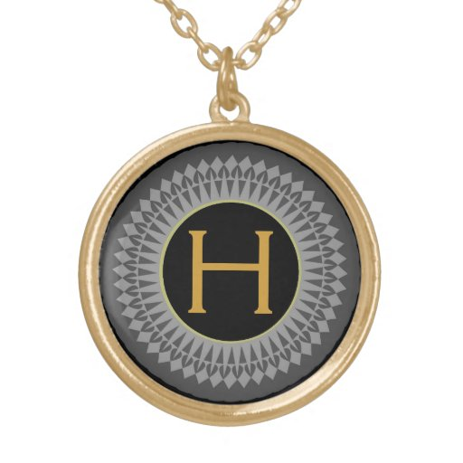 Gold Initial on Black with Silver Grey Necklace Pendants