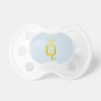 Gold Initial Q Letter Monogram Baby Pacifier