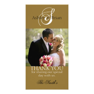 Gold Initial Wedding Thank Photo Cards