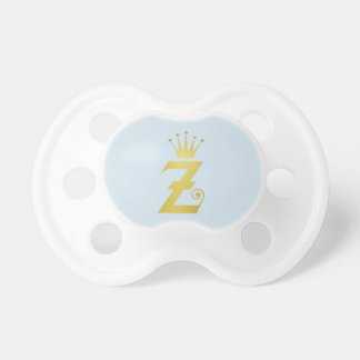 Gold Initial Z Letter Monogram Baby Pacifier Gift