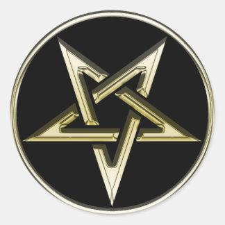 Gold Inverted Pentagram Round Sticker