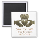 Gold Irish Claddagh - save the date Square Magnet