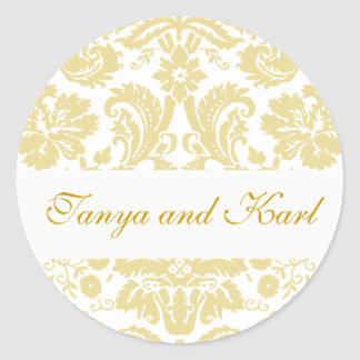 Gold Ivory Bride Groom Damask Wedding Seal Sticker