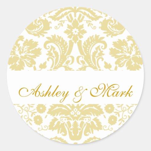 gold ivory bride groom damask wedding sticker zazzle