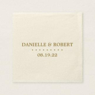 Gold | Ivory Custom Wedding Monogram Paper Napkin