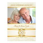 Gold & Ivory Damask 50th Anniversary Invitations