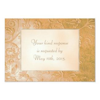 Gold Jade Autumn Floral Border Wedding RSVP 9 Cm X 13 Cm Invitation Card