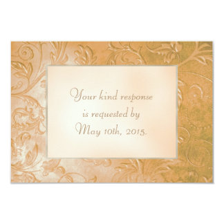 Gold Jade Autumn Floral Border Wedding RSVP Card