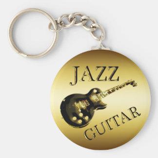 GOLD JAZZ GUITAR BASIC ROUND BUTTON KEY RING