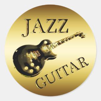 GOLD JAZZ GUITAR ROUND STICKER