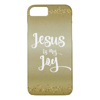Gold Jesus is my Joy Quote iPhone 7 Case