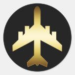 GOLD JET AIRPLANE ROUND STICKERS
