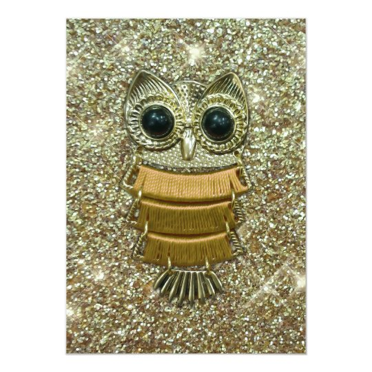 Gold Jewel Owl Card