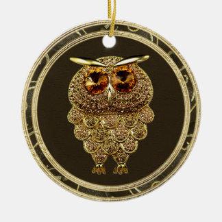 Gold Jewels Steampunk Owl Photo Print Ornament