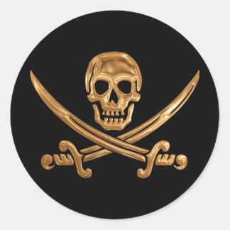 Gold Jolly Roger Round Sticker