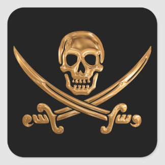 Gold Jolly Roger Square Sticker
