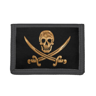 Gold Jolly Roger Tri-fold Wallets