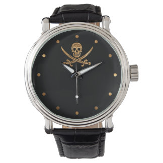 Gold Jolly Roger Watch