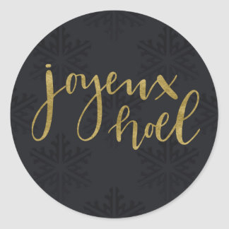 Gold JOYEUX NOEL Holiday Winter Black Snowflakes Classic Round Sticker