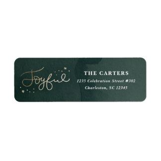 Gold Joyful faux foil holiday return address label