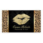 Gold Kiss Leopard Print Damask Makeup Artist Pack Of Standard Business Cards