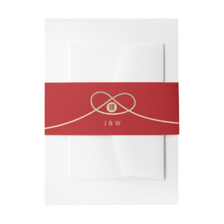Gold Knot Double Happiness Red Wedding Belly Band Invitation Belly Band