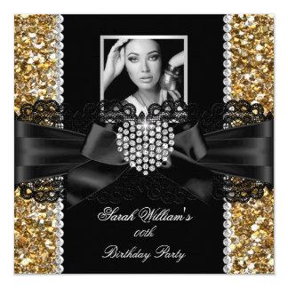 Gold Lace Diamond Heart Photo Birthday Party 5.25x5.25 Square Paper Invitation Card