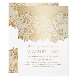 Gold Lace Elegant Vintage White Bridal Shower Card