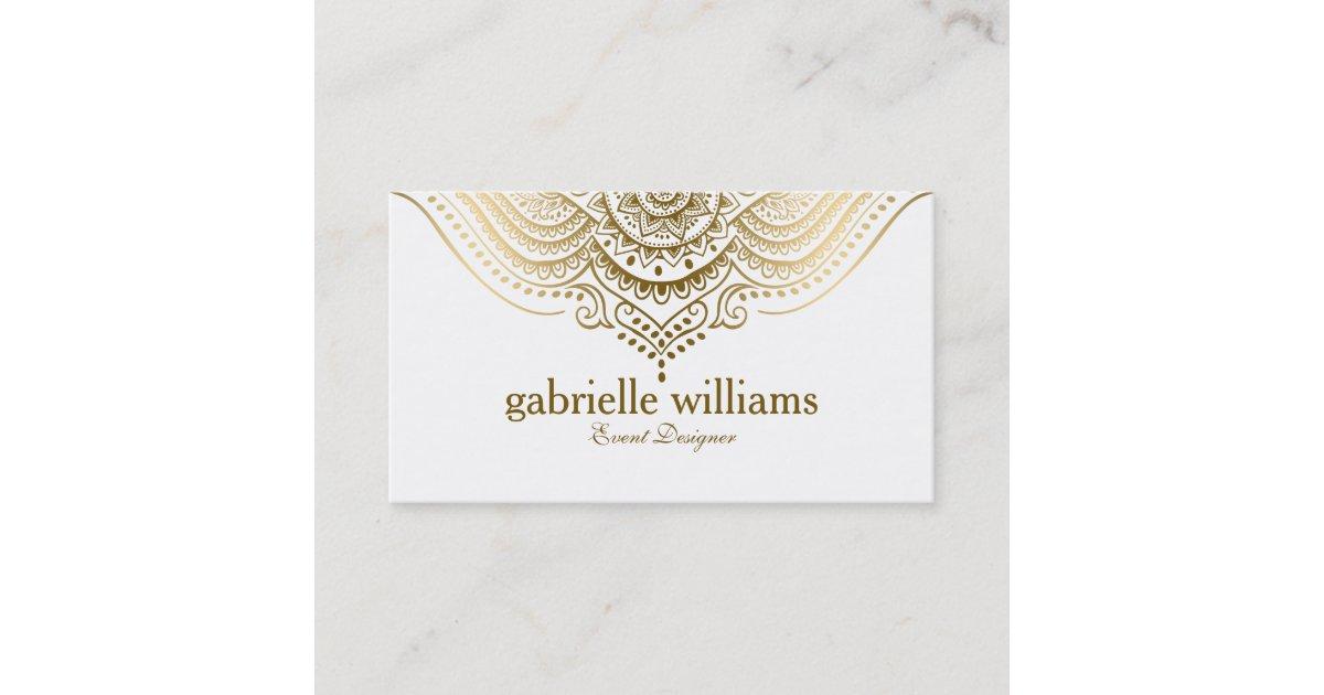 Gold Lace Paisley Mandala Business Card | Zazzle.com.au