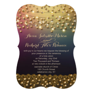 Gold Lace Purple Under the Stars Wedding Invites