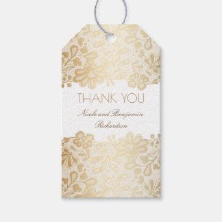 Gold Lace White Elegant Wedding Gift Tags
