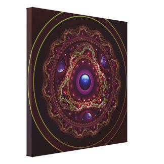 Gold Lace with Fractal Rubies on Burgundy Satin Canvas Print