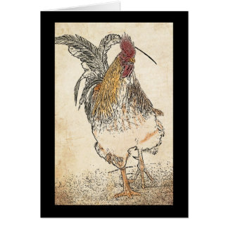 Gold Laced Cockerel note or any occasion greeting Card